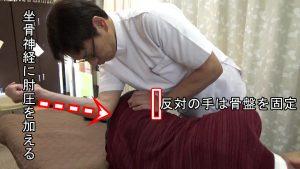 坐骨神経に肘圧を加えて反対の手では骨盤を固定する