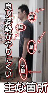 猫背の人が良い姿勢をやりにくい主な個所首胸腰太腿