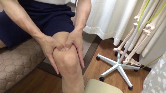 膝蓋骨周囲のはがし親指でしごく