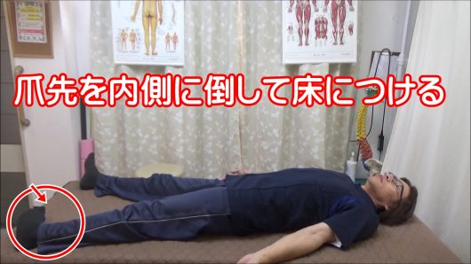 膝が痛い爪先を内側に倒して床につける内転筋と内側ハムストリングスの筋トレ